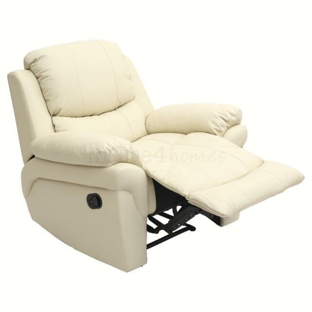 Charmant Madison Leather Recliner Armchair Sofa Home Lounge Chair Reclining Gaming  Cream | EBay