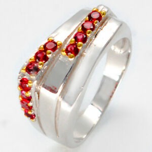Unisex-jewelry-Jewelry-Natural-Gemstone-Garnet-925-Sterling-Silver-Ring-RVS57