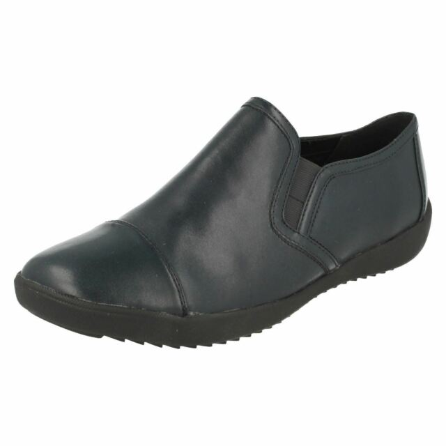 ZYRIS NOVA LADIES CLARKS LEATHER BUCKLE PUNCHED FLAT CASUAL WORK MONK SHOES SIZE