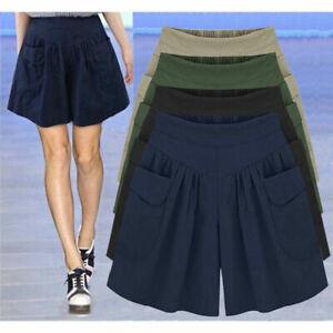 Plus-Size-Womens-Skort-Baggy-Wide-Leg-Skirts-Ladies-Casual-Shorts-Pants-UK-6-20