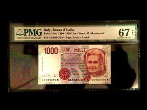 Italy 1000 Lire 1990 Banknote World Paper Money UNC Supreb GEM - PMG Certified