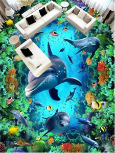 3D bluee Dolphin Ocean 7 Floor WallPaper Murals Wall Print Decal 5D AU Lemon
