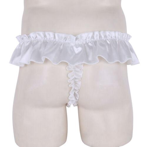Sissy Satin Thong Panties Mens High Cut Ruffled Frilly Bikini Briefs Underwear