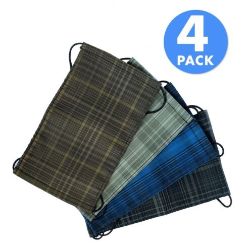 3 layers 4 Pack Washable Fabric Face Masks