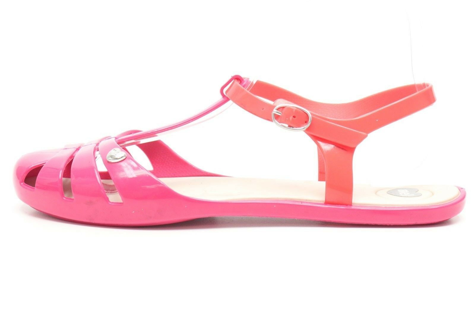 Womens MELISSA pink fuchsia rubber ankle strap sandals flats shoes sz. 8 ,