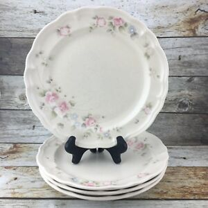 Pfaltzgraff-Tea-Rose-Stoneware-Made-In-The-USA-Pink-Floral-Dinner-Plates-Set-4