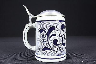 Cobalt Blue & Stone Color Glazed Pottery Lidded Beer Stein 1/2 Liter DBGM Pewter