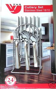 Flatware set cutlery set 24 pcs 18 10 stainless steel with metal stand ebay - Flatware set with stand ...