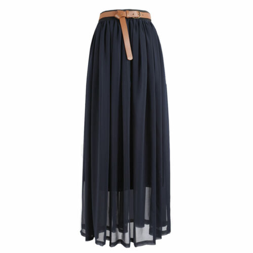 HOT !SALE Women Girls Chiffon pleated Long Maxi Skirt Vintage Dress Retro-Lng