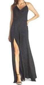 Dress the Population Cheyenne Cowl Neck Halter Evening Black Dress, Size M