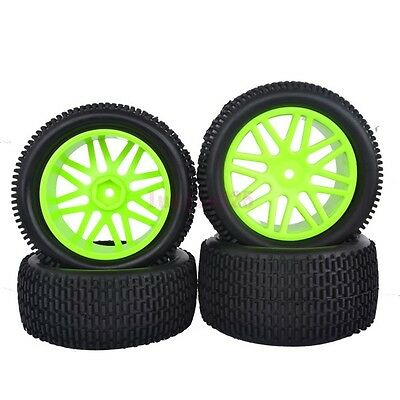 4PCS RC 1:10 Off-Road Buggy Car Front&Rear Tyre Tire Wheel Rim Green 66043-66053