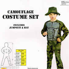 MILITARY CAMOUFLAGE Child COSTUME ~ Halloween Party Supplies Army Camo Boy Green