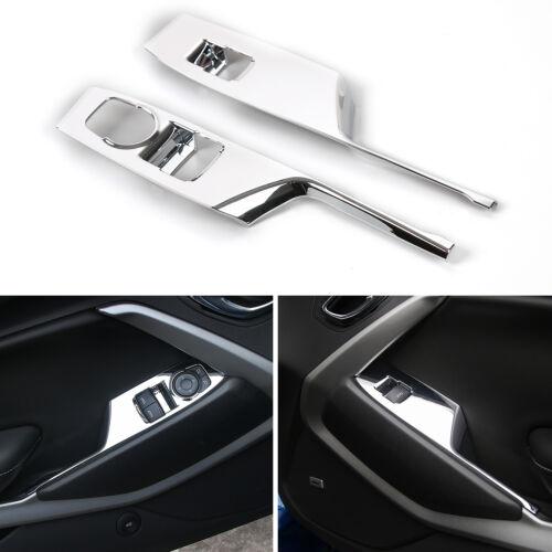 Silver Mirror 2pcs Car Windows Shift Panel Frame Trim ABS For Camaro 2017-2018