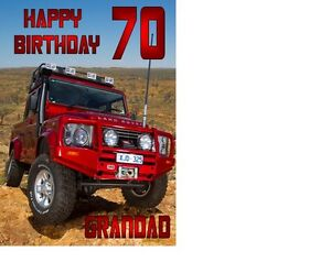 PERSONALISED LAND ROVER JEEP A4 BIRTHDAY CAKE TOPPER ICING SHEET 10