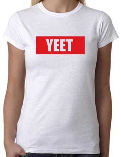 Cool Slogan Statement Meme Funny Tee YEET White T-Shirt with Red Print