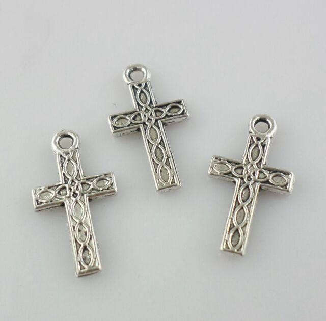 15/60/500pcs Tibetan Silver Religion Cross Charms Pendants for Jewelry Making