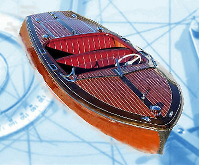 MODEL BOAT PLAN SCALE CHRIS CRAFT 20' RUNABOUT FULL SIZE PRINTED  & BUILD NOTES