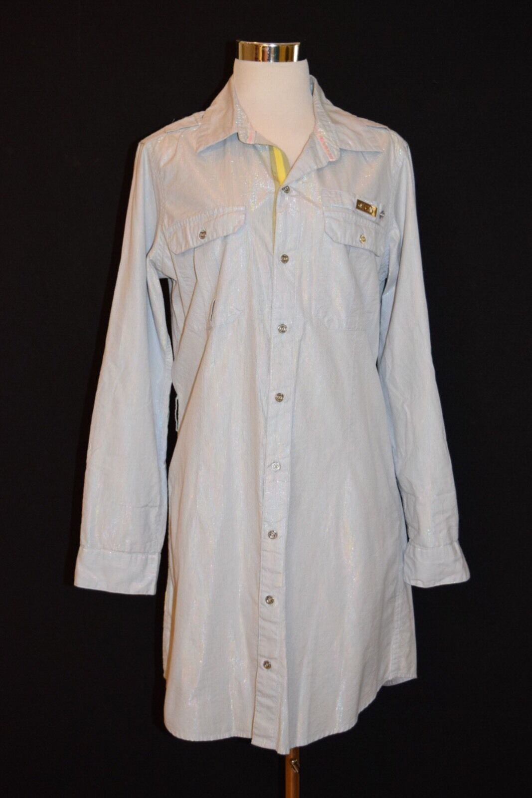 CAVI Women's Light bluee W multicolor Pinstripe Button Down Shirt Dress L 5743