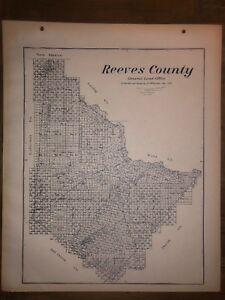 Map Of Texas 1915.Details About 1915 Reeves County Texas Map Land Office Austin Blue Line Antique Vintage