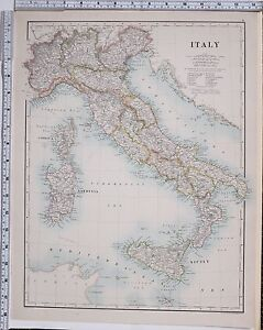 1889 LARGE ANTIQUE MAP ITALY SARDINIA TUSCANY SICILY ROME FLORENCE