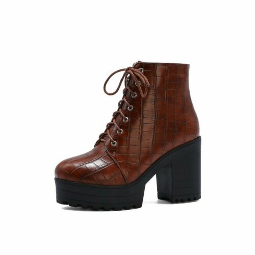 Details about  /New Women Platform Block Heel Shoes Gothic Alligator Print Lace up Ankle Boots D