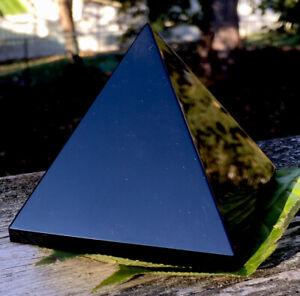 436.7g GIANT Polished Black Obsidian Crystal Healing Pyramid  ITALY  Reiki