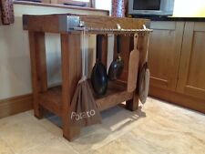 Reclaimed rustic English oak butchers block kitchen island work station table