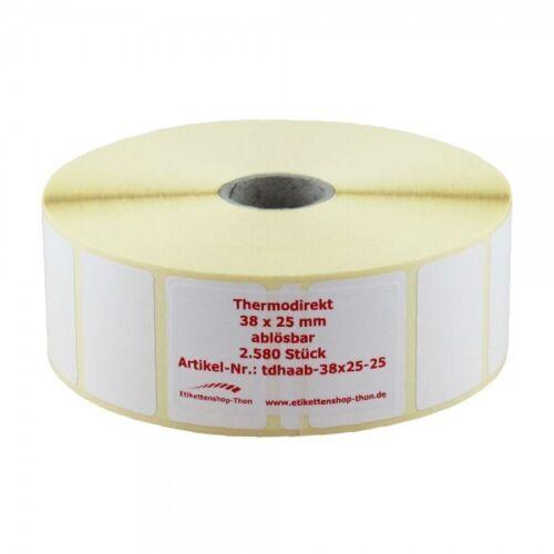 38 x 25 mm Thermo Etiketten auf Rolle ABLÖSBAR 2.580 Stück