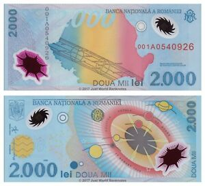 Romania-2000-Lei-1999-Polymer-Banknotes-P-111-1st-Prefix-001A-UNC