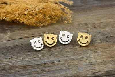 """Hand Made!!! Super Adorable """"Happy Face"""" Gold / Silver Stud Earring"""