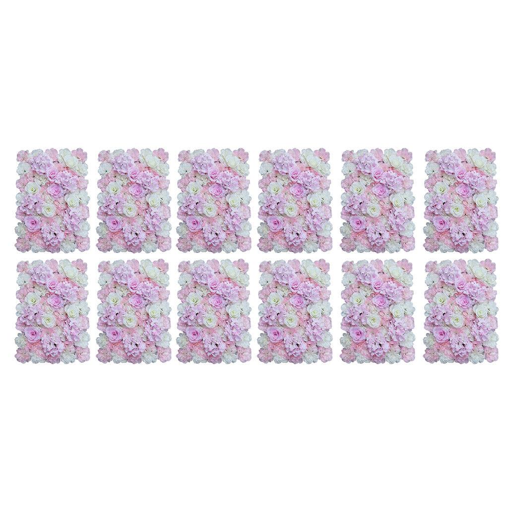 12 Pièces Panneau de Fleurs Mural Artificielles en Soie Décoration Maison