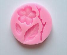 Flower set stem leaf Silicone Mold Fondant Mat Cake Decorating Cupcake Design