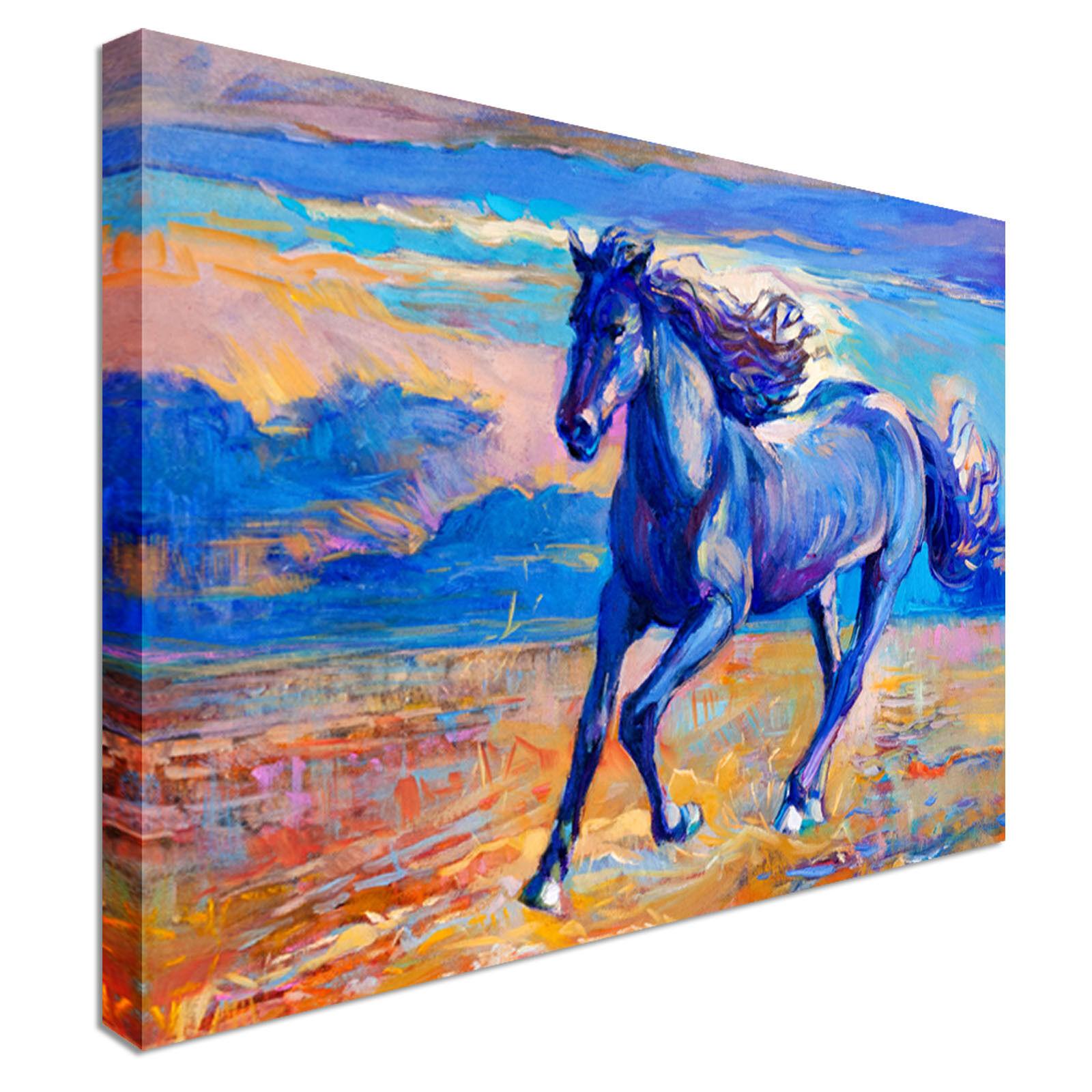 Esecuzione di Cavallo Blu Canvas Wall Wall Wall Art STAMPA di alta qualità 699ef7
