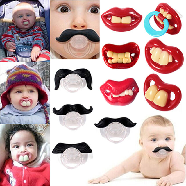 New Funny Dummy Dummies Pacifier Novelty Teeth Moustache Baby Child Soother CA a