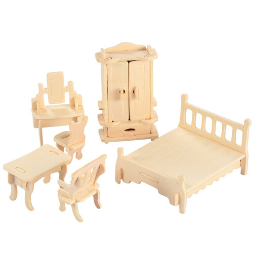34PC 1:12 Wooden Miniature Furniture for Dollhouse Kitchen Bedroom Mini Doll