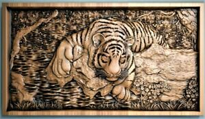 Tiger 3d stl model for cnc router engraver carving machine relief