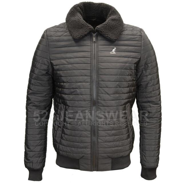 da110fb9a771 Kangol Mens Casual Zip up Branded Puffa Jacket Fleece Collar Quilted ...