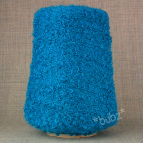 SOFT WOOL MOHAIR LOOP BOUCLE YARN 500g CONE BRIGHT BLUE POODLE DOUBLE KNITTING