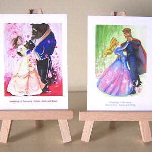 2-ACEO-art-cards-Princess-Aurora-Beauty-and-the-Beast-Weddings-n-Romance-set