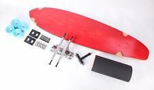 "Red 40"" Kicktail Longboard Skateboard With Sky Blue Wheels Complete Kit"