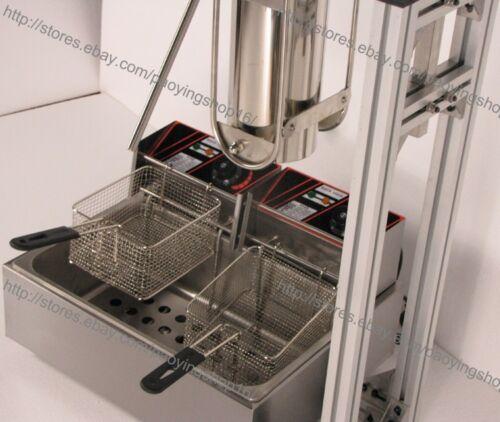Commercial 3L Vertical Manual Churrera Churros Machine w/ 12L Fryer 700ml Filler  lx7Zb