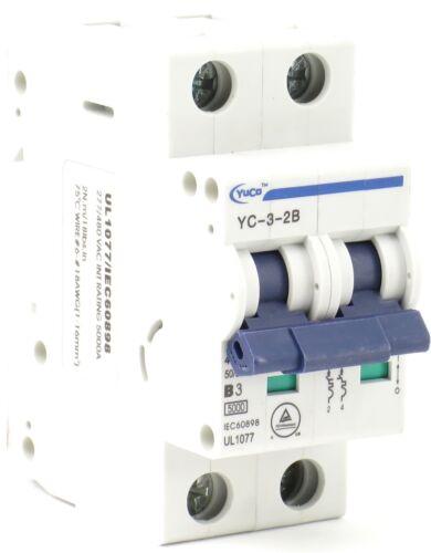 B//C//D Curve YuCo 2-Pole Miniature Circuit Breaker Din Rail Mountable 1-63 Amp