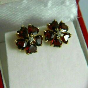 14K-Yellow-Gold-Finish-2-25-TCW-Heart-Cut-Garnet-amp-Diamond-Flower-Stud-Earrings