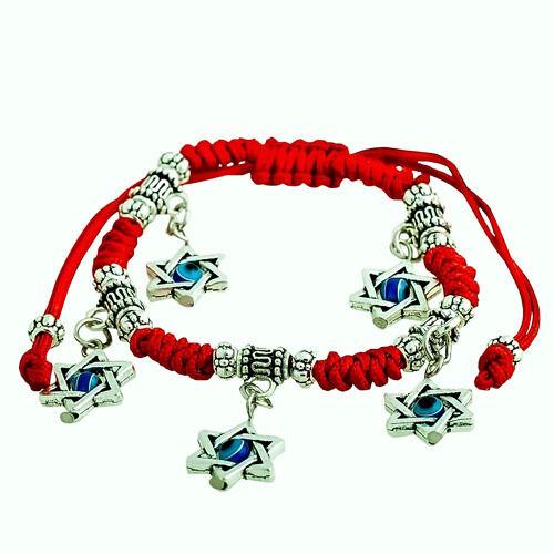 Red String Kabbalah Bracelet With 5 Pendants Of Magen David Evil Eye Charm Gift