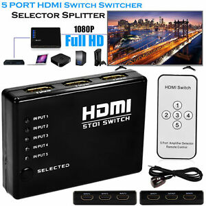 5-puertos-Switch-conmutador-Splitter-HDMI-de-video-1080P-para-HDTV-DVD-PS3-Control-Remoto-Infrarrojo
