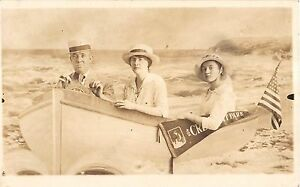 Well Dressed People On Cresent Park Boat Real Photo Pair of Postcards V13600