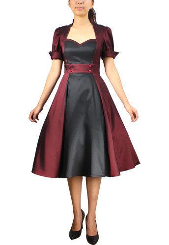 ANT Damen Kleid Rockabilly 50er 60er Swing Tanz Dress Schwarz Burgund 38