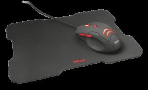Mouse trust gaming con pad tappetino pulsanti illuminazione led