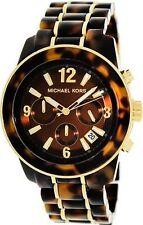 Michael Kors MK5805 Womens Tortoise Acetate Chronograph Mid Size Watch NWT