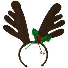 Santa's Christmas Reindeer Brown Felt Antler Headband w/ Bells & Felt Holly